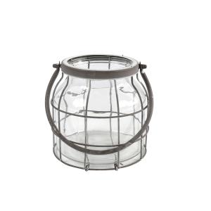 Windlicht glas met ijzer M