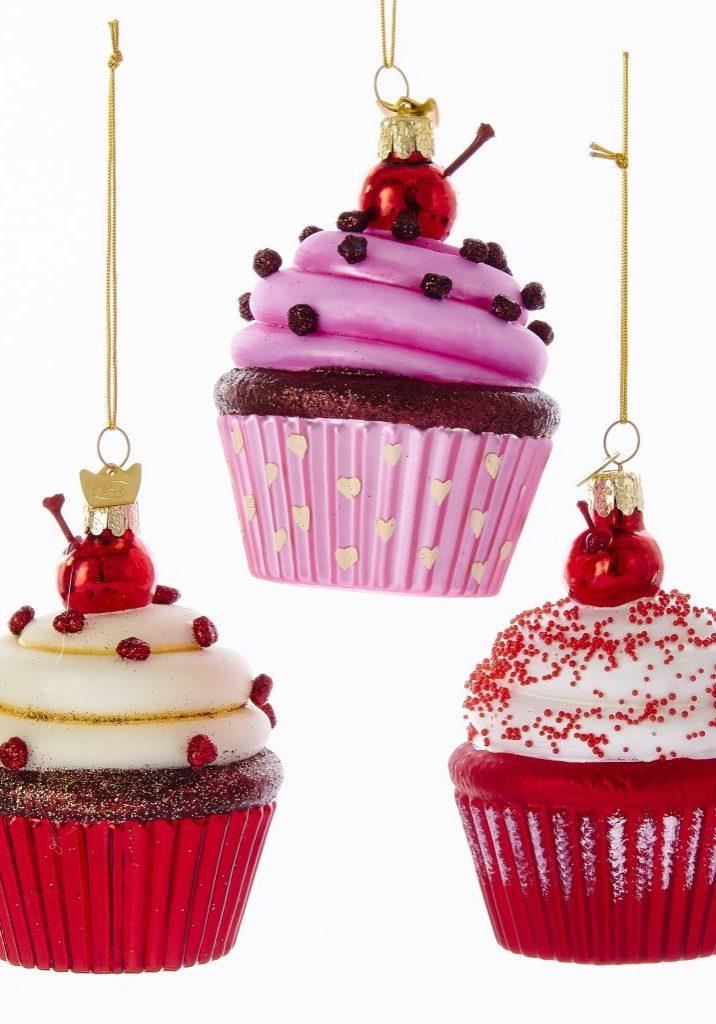 Cupcake kersthanger 3 assorti